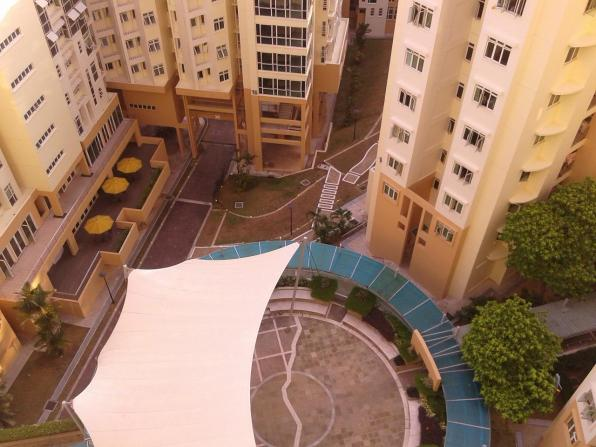"""This is a view from the opposite side of the block. Below is the so-called amphitheater surrounded by other residence blocks. Вид из другого конца блока. Внизу площадка """"амфитеатр"""", окруженная другими блоками."""