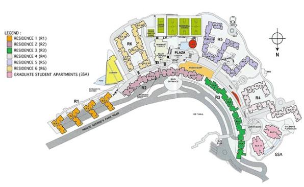 Scheme of the Prince George's Park Residencies (PGPR) where I live. My block 12 is marked in green. Схема общежитий Принц-Джордж-Парк (Парк им. Принца Джорджа), где я проживаю. Мой блок №12 выделен зеленым цветом.