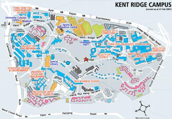 NUS campus map. All blocks in red are students' residences. Mine is at the bottom right corner. Схема кампуса (университетского городка) НУСа. Общежития на карте обозначены красным цветом. Мое общежитие - в правом нижнем углу.